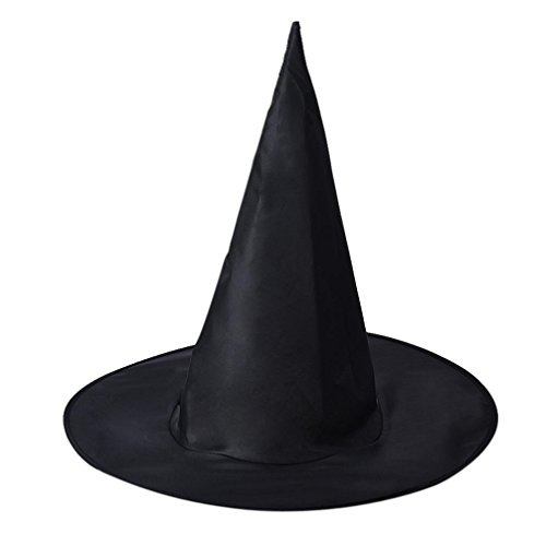 [Adult Women Black Witch Hat, Misaky For Halloween Costume Accessory] (Adult Witch Mask With Hat And Hair)