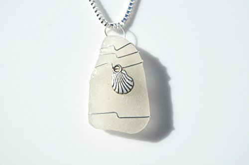 Genuine White Sea Glass (Genuine Frosted Sea Glass Necklace with a Silver Clam Shell Charm on a Sterling Silver Box Chain)