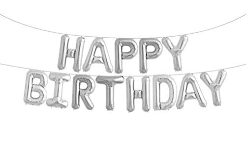 Happy Birthday Balloons Foil Letters Mylar Balloons Silver -