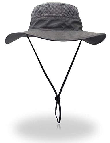(YOYEAH UPF 50+ Wide Brim Sun Protection Hat Outdoor Mesh Sun Hat Windproof Fishing Hats Dark Grey)