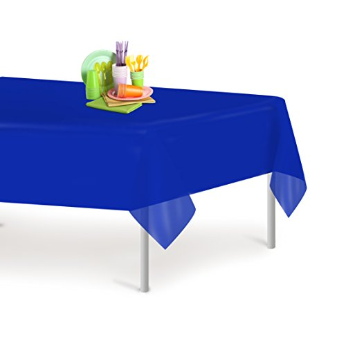 Blue 12 Pack Premium Disposable Plastic Tablecloth 54 Inch. x 108 Inch. Rectangle Table Cover By Dluxware (Blue Table Clothes)