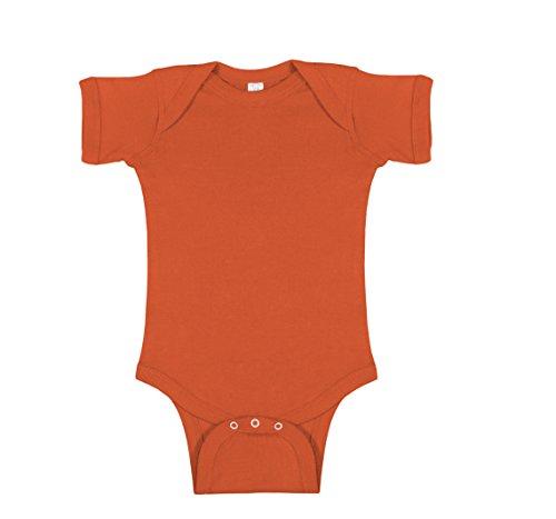 Rabbit Skins 100% Cotton Infant Baby Rib Bodysuit [Size Newborn] Orange Short Sleeve Onesie
