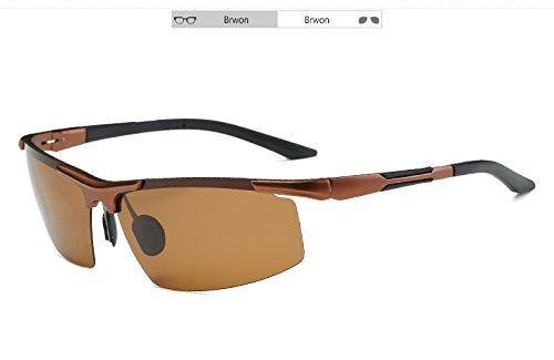 Sol Gafas de magnesio Sol el con de Mando de Gris Sunglasses de TL polarizadas Sol Cuadro Gafas Gafas Brown Aluminio Hombres UV400 de qt54Y