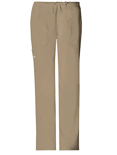 Cherokee Womens Core Stretch Mid Rise Drawstring Cargo Pant, Dark Khaki, X-Large Petite (Scrubs New Natural Uniforms Top)