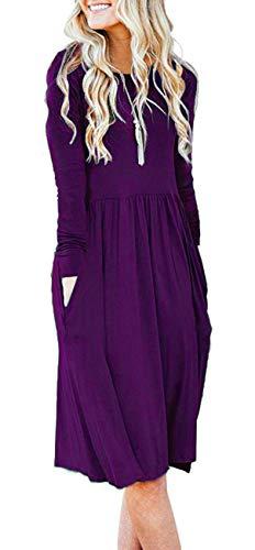 Swing Dress Casual Pockets Purple Women's Empire Loose AUSELILY Sleeve Waist Pleated Long Flare w8xSH
