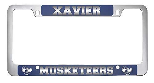 LXG, Inc. Xavier University-Metal License Plate Frame-Blue (Xavier Plate License)