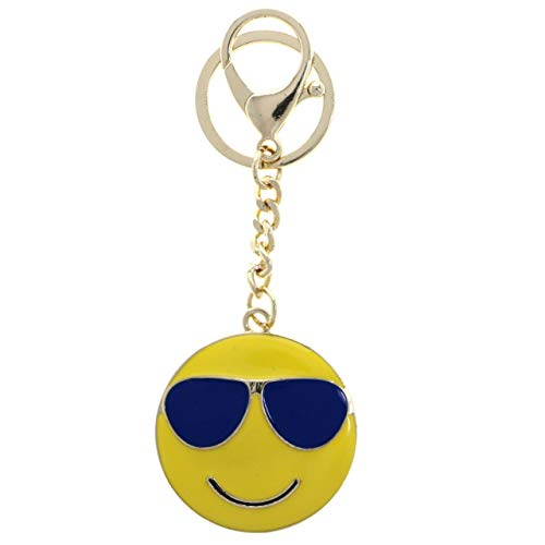 Cool Sunglasses Emoji Split-Ring-Keychain W/Trigger-Snap ()