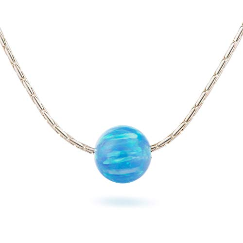 (Blue Opal Ball Necklace sterling Silver delicate Jewelry 16
