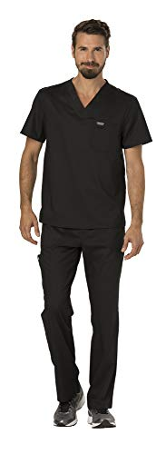 Cherokee Workwear Revolution Men's Medical Uniforms Scrubs Set Bundle - WW690 V-Neck Scrub Top & WW140 Zip Fly Cargo Scrub Pants (Black - Medium/Medium)