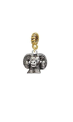 Silvertone Ram Head - Goldtone Rope Charm - Pendant Ram Head Gold