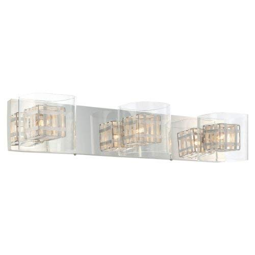 George Kovacs P5803-077, Jewel Box Glass Wall Vanity Lighting, 3 Light Halogen, Chrome