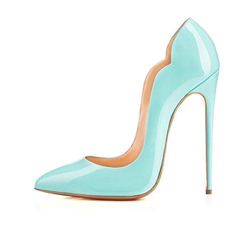 Edefs Ladies Scarpe A Punta Tacco 120mm Tacco Alto Pompe Tacchi Alti Scarpe Da Sera Chiuse Blu