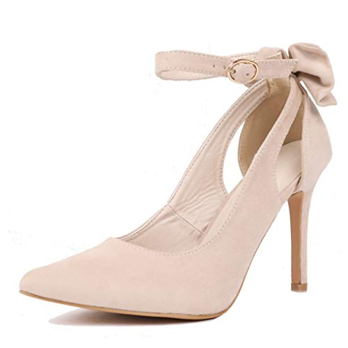 Fashare Womens Pointed Toe Pumps High Heels Bowtie Back Ankle Buckle Strap D'Orsay Dress Shoes Khaki