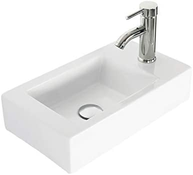 Eclife 18-3 8 1.5 GPM Wall Mount White Ceramic Sink Bathroom Rectangle with Chrome Faucet with Pop Up Drain P Trap T02