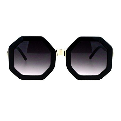 SA106 Womens Thick Plastic Octagon Retro Designer Sunglasses Black - Octagon Sunglasses