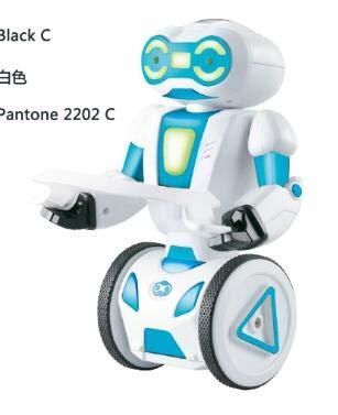 Bright Love Intelligente Carico Induzione Singola Ruota Equilibrio Telecomando Robot Giocattolo Danza Musica Giocattoli per Bambini,bianca,Nocharge
