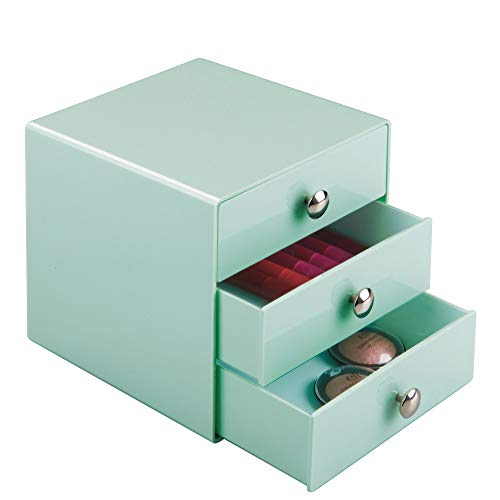 "InterDesign 3-Drawer Plastic Vanity Organizer, Compact Storage Organization Set for Dental Supplies, Hair Care, Bathroom, Office, Dorm, Desk, Countertop, Office, 6.5"" x 6.5"" x 6.5"", Mint Green"