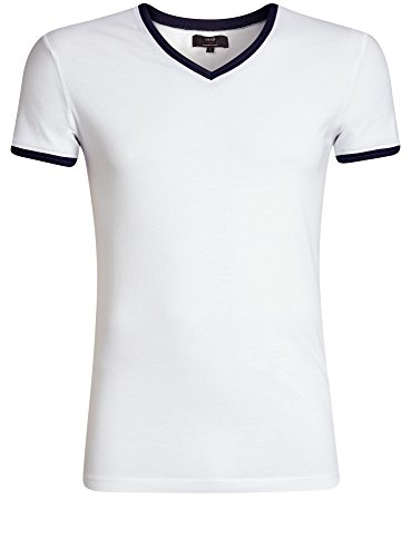 V T Contrasto Oodji A Bianco Scollo Uomo Con E 1079b Ultra Finitura shirt 00OvE