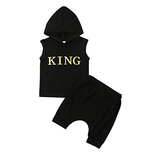 4th of July Clothes Toddler Kids Baby Boys Girl Vest Hoodie T-Shirt+Shorts Pants Independence Day Outfits Set (King Outfits Set Black, 12-24M)]()