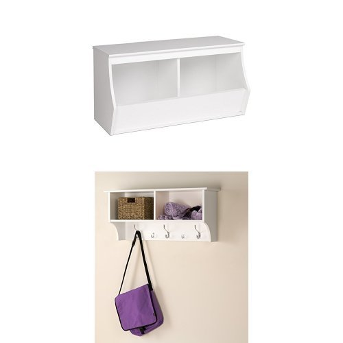 Prepac 34'' wide Double Storage Cubby and Wall Mounted Coat Rack with Shelf - White