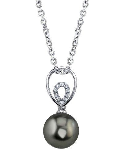 Or 14K diamant et perle de culture de Mer du sud de Tahiti Jocelyn Pendentif
