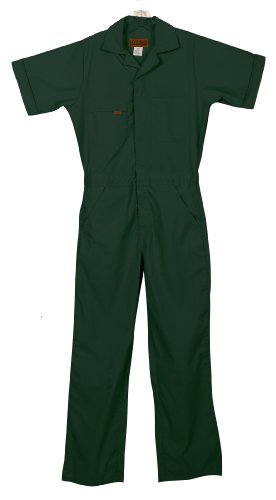 Green Coverall - Five Rock Poplin Short Sleeve Unlined Coverall Regular Fit in Spruce LG