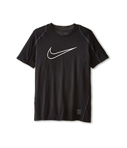 Nike Pro Cool HBR Fitted Boys' Short-Sleeve Top (X-Large, Black/White)