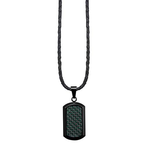 Willis Judd plaque d'identité pendentif nouveau pour homme, en acier inoxydable noir avec fibre de carbone verte, chaîne en cuir, emballé dans une pochette cadeau en velours noir