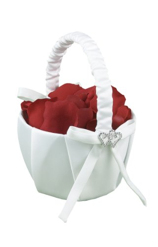 Hortense B. Hewitt Wedding Accessories With All My Heart Flower Girl Basket, White