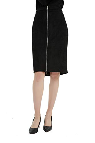 (Tronjori Womens High Waisted Sueded Bodycon Midi Skirt Front Zip(M,Black))