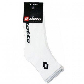 Lotto-Lote de 3 pares de calcetines tenis tallo corto, color blanco Blanco blanco