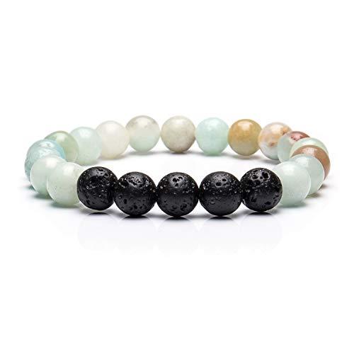 Bivei Lava Rock Stone Essential Oil Diffuser Bracelet - Natural Semi Precious Gemstone Beads Healing Crystal Bracelet(Amazonite)