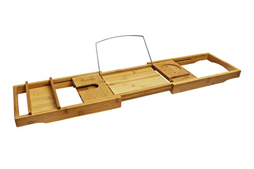 Purica Wooden Bath Caddy - Luxury Bathtub Caddy Tray with Accessory Holders for Book, Candle, Wineglass and More - Fully Adjustable and Compatible with Most Tub Sizes - Made with 100% Premium Bamboo