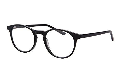 SHINU Ultra Thin Acetate Frame Progressive Multifocus Anti-Blue Light Reading Glasses-SH045(bright black, anti-blue up 0 down ()