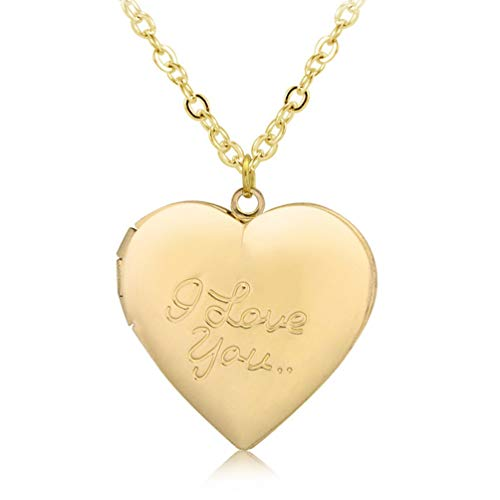 Photo Locket Necklace That Holds 2 Pictures Vintage I Love You Heart Pendant for Girls Gold Tone ()