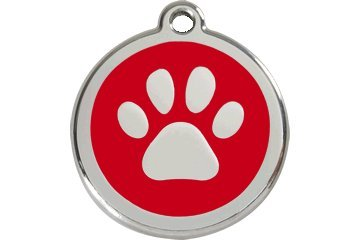 Red Dingo Custom Engraved Dog ID Tag - Paw Print Small/Red