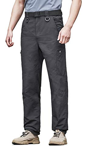 KORAMAN Mens Outdoor Lightweight Stretch Cargo Quick Dry Hiking Travel Pant-Breathable Water Repellent Black 2XL ()