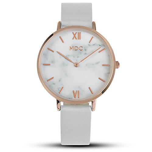 (MDC White Leather Analog Wrist Watch Minimalist Watches for Women Ultra Thin Womens Marble Face)