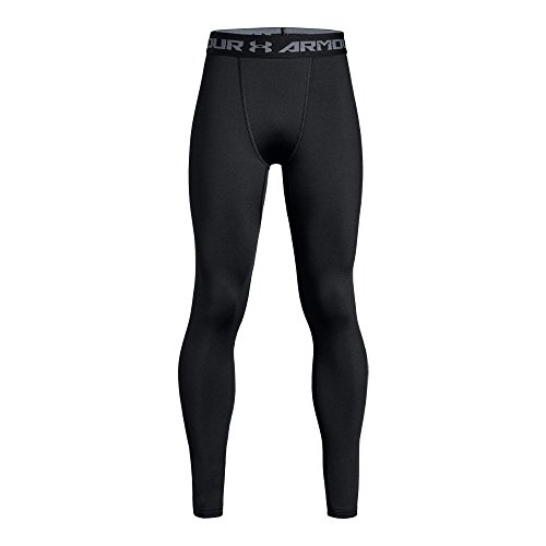 Under Armour Boys' ColdGear Armour Leggings, Black/Reflective, Youth Medium