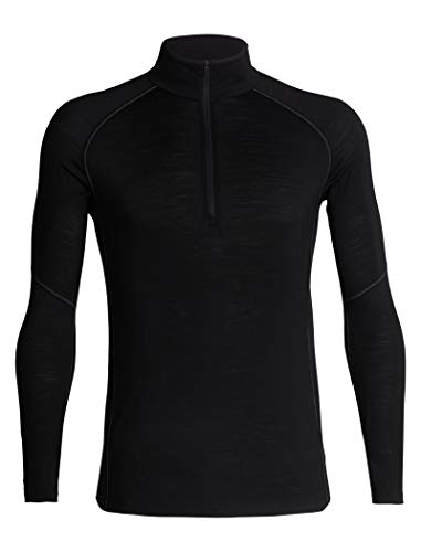 Icebreaker Merino Men's 150 Zone Long Sleeve Half Zip Jacket, Black/Mineral, Medium