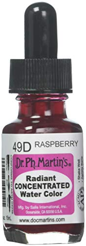 Dr. Ph. Martin's Radiant Concentrated Water Color (49D) Watercolor Bottle, 0.5 oz, Raspberry, 1 Bottle