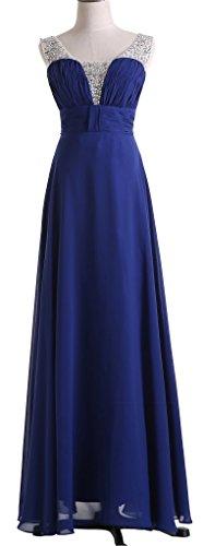 Drasawee Élégante Demoiselle D'honneur De Bal Robe De Bal Formelle Du Parti Du Soir En Mousseline De Soie Longue Robe Bleu Royal