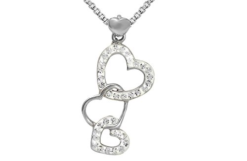18' Round Box Chain - Sterling Silver Multi-linked Heart Pendant Necklace With Genuine Swarovski Crystals 18'
