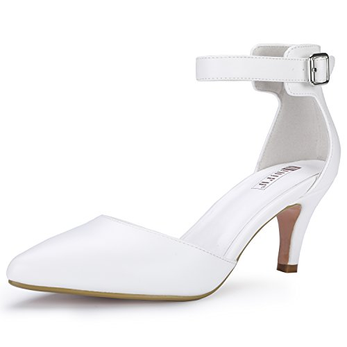 Shoes Dress Navy White (IDIFU Women's IN3 D'Orsay Pointed Toe Ankle Strap Mid Heel Pump (White PU, 6 B(M) US))