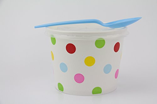 100 Count Deli Containers Durable Food Storage Containers with Lids and Multi-colored Spoons Hot and Cold Disposable 16oz Containers Use for Frozen Desserts, Soups, or Any Food of Your Choice