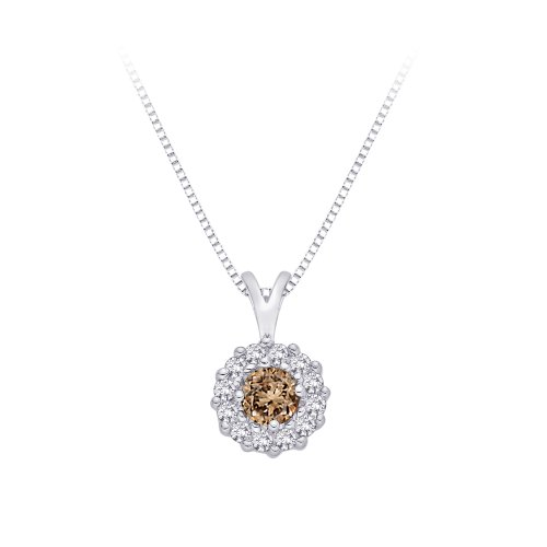 10K White Gold, Brown and White Diamond Fashion Pendant Necklace (1/3 cttw)