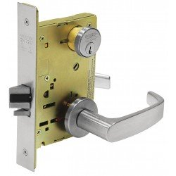 Sargent 8200 Series Satin Chrome Plated Classroom Mortise Lock with L Lever, LN Rose Trim (Pack of 1) - Sargent Mortise Locks