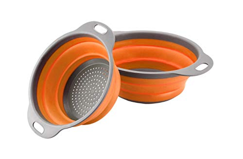 "GXABK Collapsible Colander Set, 2 Pack include, Sizes 8"" - 2 Quart and 9.5"" - 3 Quart, Food-Grade kitchen Strainer, Space-Saver Folding Strainer Colander, Dishwasher Safe (Orange and Grey)"