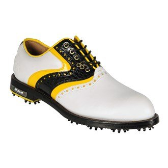 Darren Clarke Collection Classic Mens Golf Shoe (10 US, White/Black/Yellow)
