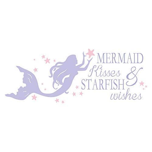 decalmile Purple Mermaid Wall Decals Quotes Mermaid Kisses & Starfish Wishes Pink Stars Girls Wall Stickers Kids Bedroom Baby Girls Nursery Room Wall Decor